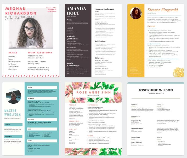 Imagen de Canva  para crear tu Curriculum  o perfil de linkedin.