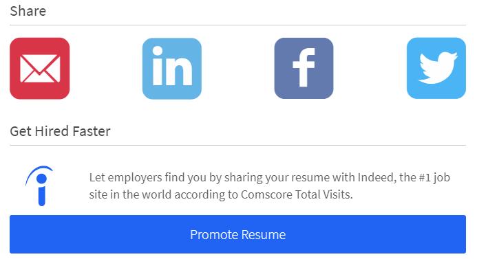 Iconos de redes sociales para compartir tu curriculum vitae a través de https://www.resume.com
